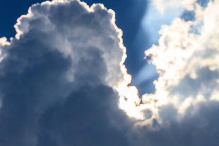 ominous: sunlight andDark ominous clouds. Dramatic sky Stock Photo