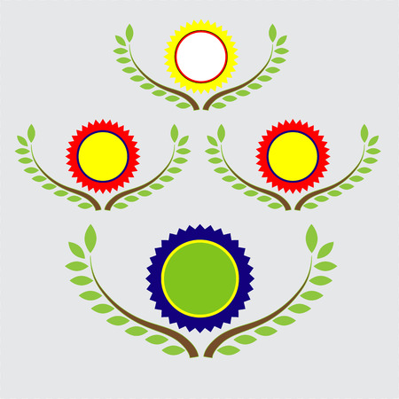 banner and labels with leaf background