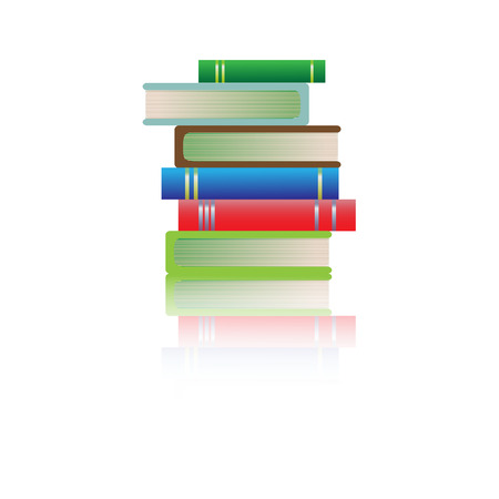 multi: Stack of multi colored books on white background