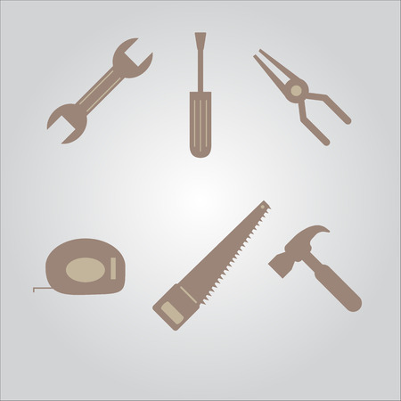 tools icon set cross with each other isolated on background Vector