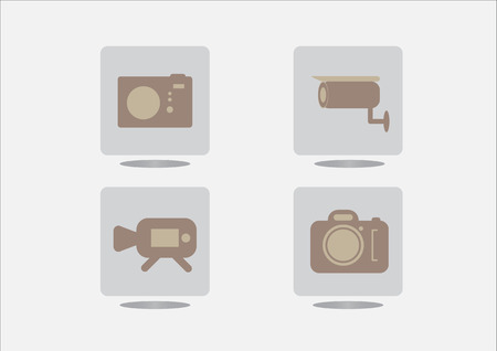 journalistic: Camera icons on grey background. Vector illustration.