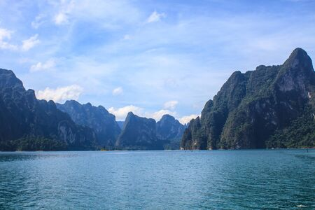 Khao sok park, mountain and lake in Suratthani, Thailand. photo