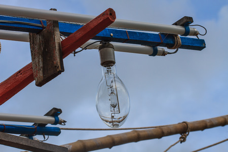 calmar: close up Squid fishing boat light bulb