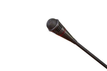 listeners: Close up of microphone for conference hall on  white background