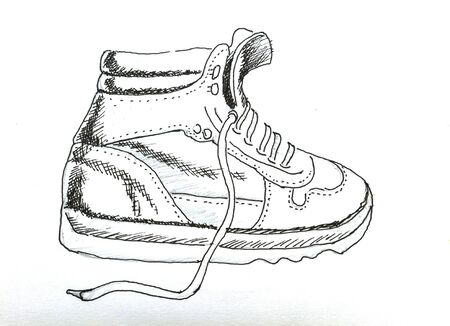 The original drawing of shoes on white paper