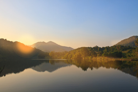 phetchburi: Beautiful mountains and river in morning and rays of sunlight at Phetchburi Province, Thailand
