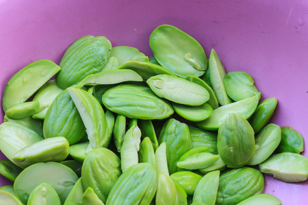 stinking: twisted cluster bean, ingredient in Thailand food Stock Photo