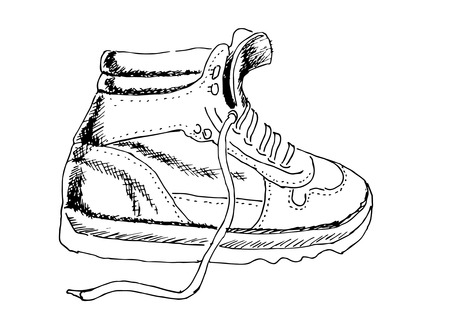 man made object: shoes drawing vector Illustration