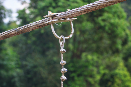 link up: close up sling bridge, sling with u link, iron rope