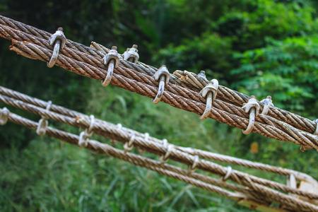 close up sling bridge, sling with u link, iron rope
