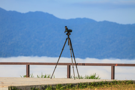 birdwatching: Birdwatching monocular or spotting scope on a tripod in forest