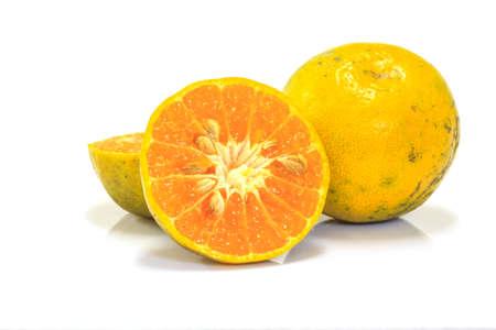 cantle: Orange fruit sliced isolated on white background