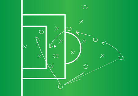 tactic: Soccer or football game strategy plan, Soccer Tactic Table. Vector Illustration