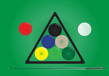 snooker table: Snooker ball on green snooker table vector