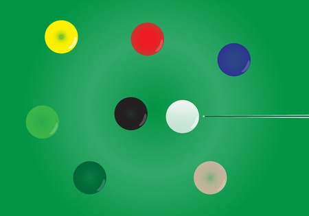 snooker: Snooker ball on green snooker table vector
