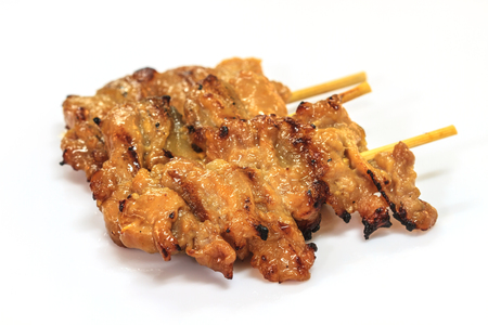 bar b que: grilled pork, Thai food style, roasted pork on white background