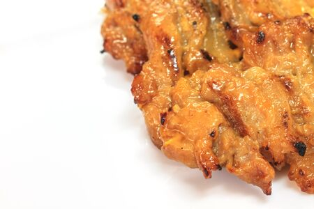 grilled pork, Thai food style, roasted pork on white background