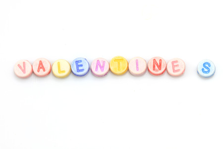 title emotions: word with dice on white background - valentines, concept valentines day Stock Photo
