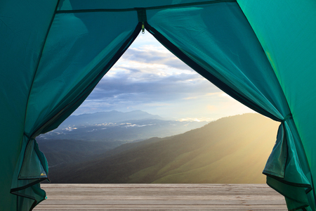 top veiw: view from open tent, beautiful green mountains and forest on top veiw