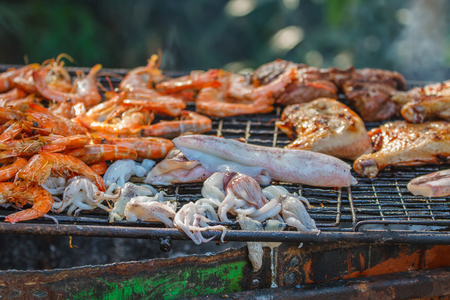 gas fireplace: Assorted delicious grilled meat over the coals on a barbecue Stock Photo