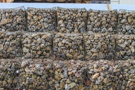 Rock breakwater, Cobble stone mole in sea
