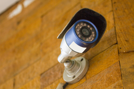 close circuit camera: CCTV Security Camera, Closed circuit television in modern white home style Stock Photo