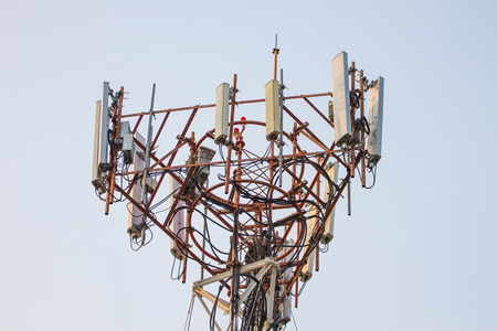 antennas: Telecommunication tower with beautiful sky background,Antennas of cellular systems