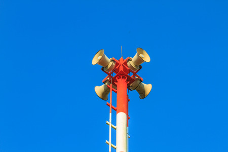 Tsunami siren warning loudspeakers are installed on the beach in Thailand Stock fotó