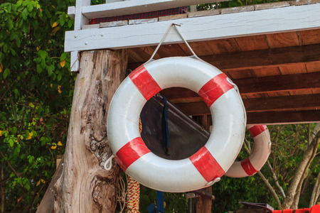 house float on water: lifebelt on lifeguard house,float and Life jacket rescue