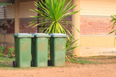 bins: Three recycle bins in the national  Park