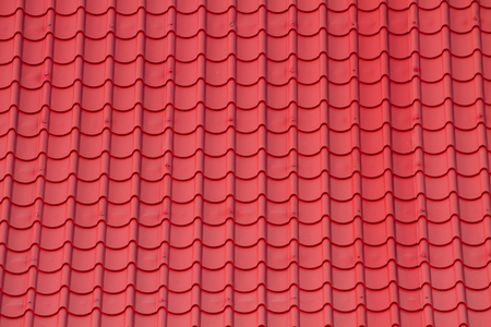 tile roof: Pattern Red corrugated tile element of roof Stock Photo
