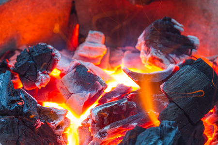 Burning wood in hot stove,  Thailand traditional style of cooking Stock Photo