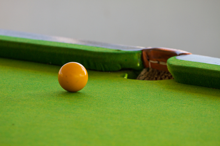 Close up Snooker ball on table, billiard table Stock Photo