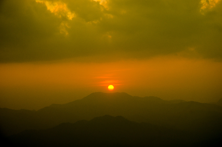 Sunset on mountain background Thailand, abstract nature  background Stock Photo