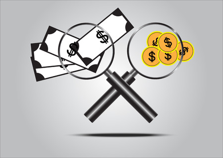 Magnifying Glass with Money, concept of money Illustration