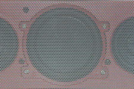 electric grid: Close up details of loudspeaker woofer driver,Abstract background Details audio equipment