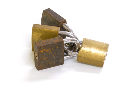 Close up on locked padlock over white background concept
