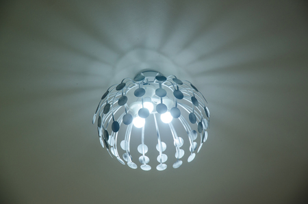 chandelier: Chandelier Ceiling and Lights are on, decorative hanging light with branches Stock Photo