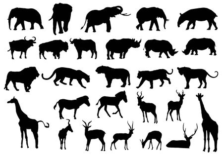 Wild animals black silhouettes, Vector illustration isolated on white