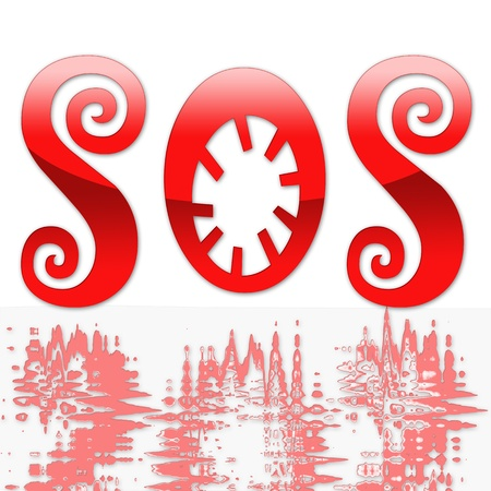 expostulate: RED SOS white background Illustration