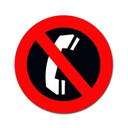 sign not to talk by phone: red forbidden sign with phone as  no cold calls allowed