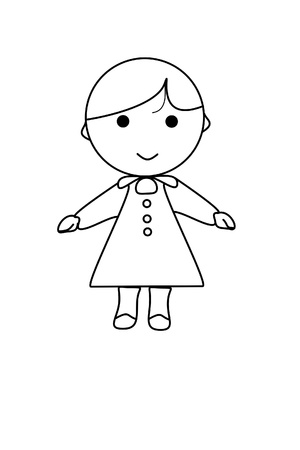 lowbrow: simple cartoon of a cute girl on white