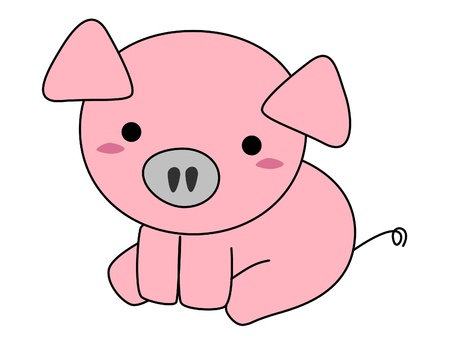 Pink pig cartoon isolated on white background  Banco de Imagens