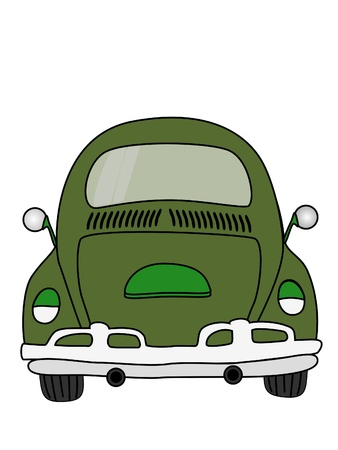 Green car cartoon isolate on white background