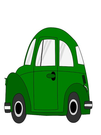 Green car cartoon isolate on white background photo