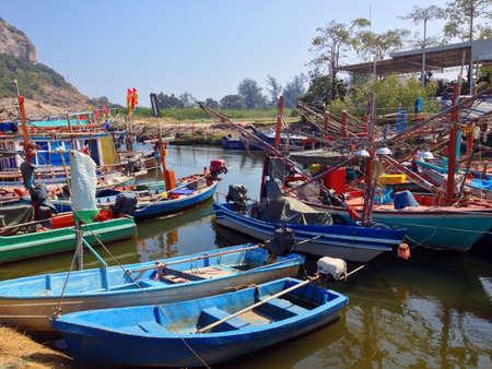 commercial fishing net: Fishing boats at  Hua Hin Thailand
