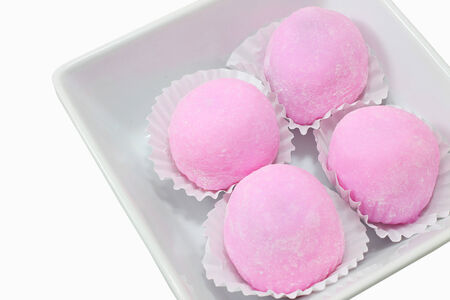 Daifuku Mochi or Daifuku Japanese confection isolate on white background Stock Photo