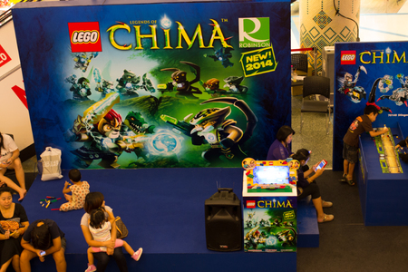 Chaing mai, Thailand - APRIL 30  Lego new collection 2014   LEGEND OF CHIMA   on display at Central airport Chaing mai, Shopping center  on APRIL 30, 2014 in Thailand