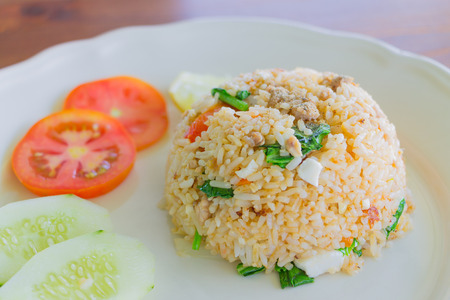 salted egg fried rice with pork , Thai food Stock Photo