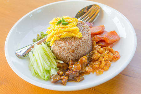 Mixed Cooked Rice with Shrimp Paste Sauce , Thai food Stock Photo - 34102253
